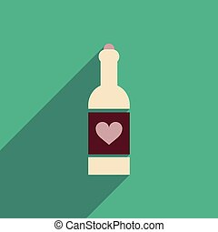 flat icon with long shadow heart bottle