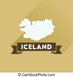 Flat icon with long shadow Iceland map