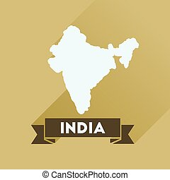 Flat icon with long shadow India map