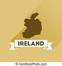 Flat icon with long shadow Ireland map