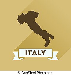 Flat icon with long shadow ITALY map