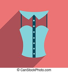 Flat icon with long shadow lady blouse