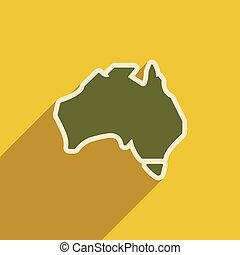 flat icon with long shadow map of Australia