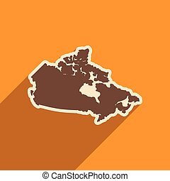 flat icon with long shadow map of Canada