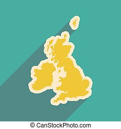 flat icon with long shadow map of Britain