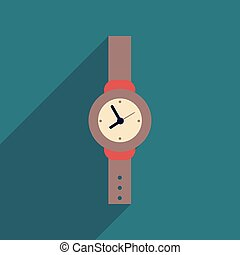 Flat icon with long shadow Men Watch