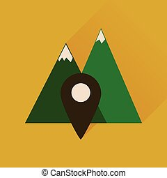 Flat icon with long shadow mountain location