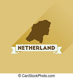 Flat icon with long shadow Netherlands map
