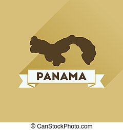 Flat icon with long shadow Panama map