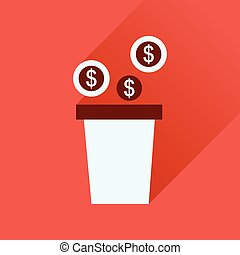 Flat icon with long shadow pot of coins - Flat icon with...