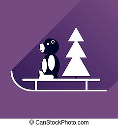 flat icon with long shadow sled bear