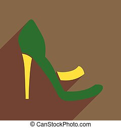Flat icon with long shadow stiletto heels - Flat icon with...