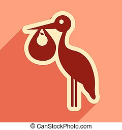 flat icon with long shadow Stork and newborn baby