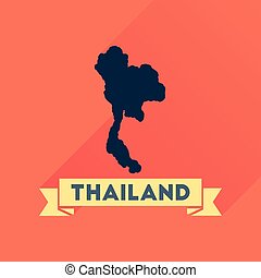 Flat icon with long shadow Thailand map