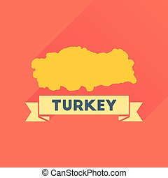 Flat icon with long shadow Turkey map