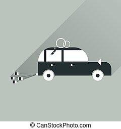 flat icon with long shadow wedding car