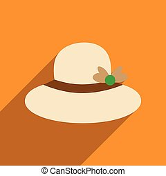 Flat icon with long shadow women hat