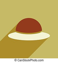 flat icon with long shadow women's hat
