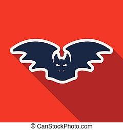 Flat icon with shadow bat