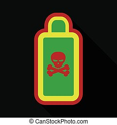 Flat icon with shadow bottle of poison