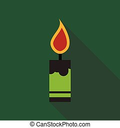 Flat Icon with shadow Christmas candle