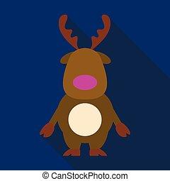 Flat icon with shadow Christmas deer