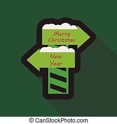 Flat Icon with shadow christmas sign