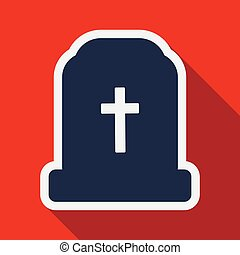 Flat icon with shadow grave