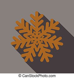 Flat Icon with shadow snowflake
