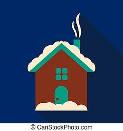 Flat icon with shadow Winter nature landscape. house under the snow