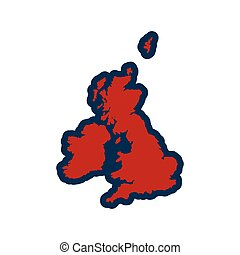 flat iconon white background map of Britain