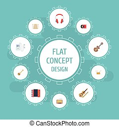 Flat Icons Acoustic, Retro Disc, Banjo And Other Vector Elements. Set Of Music Flat Icons Symbols Also Includes Acoustic, Player, Drum Objects.
