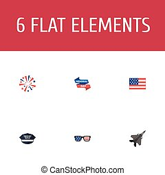 Flat Icons Aircraft, American Banner, Spectacles And Other Vector Elements. Set Of Memorial Flat Icons Symbols Also Includes Military, Glasses, Memorial Objects.