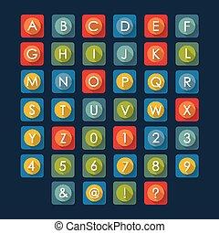 Flat icons alphabet