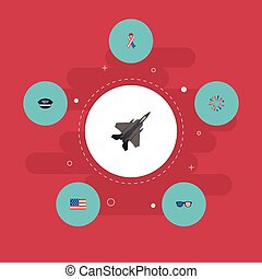 Flat Icons American Banner, Hat, Aircraft And Other Vector Elements. Set Of History Flat Icons Symbols Also Includes Usa, Fighter, Aircraft Objects.