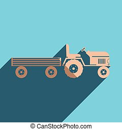 Flat icons and shadow tractor with a large trailer