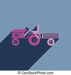 Flat icons and shadow tractor with a small trailer