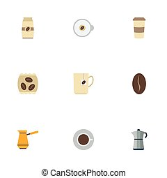 Flat Icons Arabica Bean, Package Latte, Seed Pack And Other Vector Elements. Set Of Drink Flat Icons Symbols Also Includes Cup, Capsule, Instant Objects.