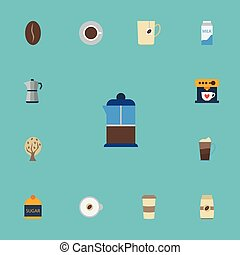 Flat Icons Arabica Bean, Plastic Cup, Timber And Other Vector Elements. Set Of Drink Flat Icons Symbols Also Includes Cappuccino, Cocktail, Latte Objects.
