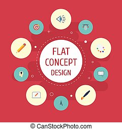 Flat Icons Arrow, Writing, Brush And Other Vector Elements. Set Of Creative Flat Icons Symbols Also Includes Look, Compass, Draw Objects.