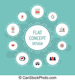 Flat Icons Audience, Television, Building And Other Vector Elements. Set Of Advertising Flat Icons Symbols Also Includes Advertising Agency, People, Email Objects.