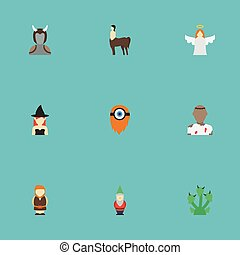 Flat Icons Avatar, Monster, Snake And Other Vector Elements. Set Of Fantasy Flat Icons Symbols Also Includes Monster, Orc, Death Objects.