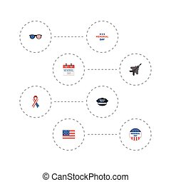 Flat Icons Awareness, Hat, American Banner And Other Vector Elements. Set Of Day Flat Icons Symbols Also Includes Military, American, Plane Objects.
