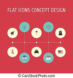 Flat Icons Awareness, Holiday, Soldier Helmet And Other Vector Elements. Set Of Day Flat Icons Symbols Also Includes Awareness, Aircraft, Helmet Objects.