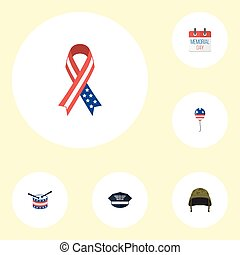 Flat Icons Awareness, Musical Instrument, Hat And Other Vector Elements. Set Of Memorial Flat Icons Symbols Also Includes Ribbon, Mom, Drum Objects.
