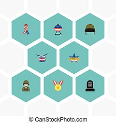 Flat Icons Awareness, Tomb, Soldier Helmet And Other Vector Elements. Set Of Day Flat Icons Symbols Also Includes Awareness, Rip, Drum Objects.