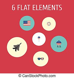Flat Icons Barbecue, American Banner, Aircraft And Other Vector Elements. Set Of Memorial Flat Icons Symbols Also Includes Firework, Mom, Flag Objects.