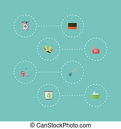 Flat Icons Besom, Wisp, Gauntlet And Other Vector Elements. Set Of Hygiene Flat Icons Symbols Also Includes Machine, Soap, Laundromat Objects.