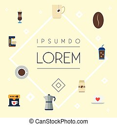 Flat Icons Beverage, Moka Pot, Espresso Dispenser And Other Vector Elements. Set Of Coffee Flat Icons Symbols Also Includes Coffeemaker, Mocha, Arabica Objects.
