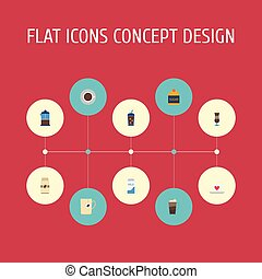 Flat Icons Beverage, Paper Box, Cup And Other Vector Elements. Set Of Drink Flat Icons Symbols Also Includes Press, Capsule, Saucer Objects.